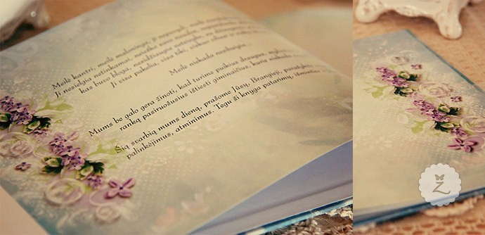 Vestuvių palinkėjimų knyga: viršelis, vidiniai puslapiai