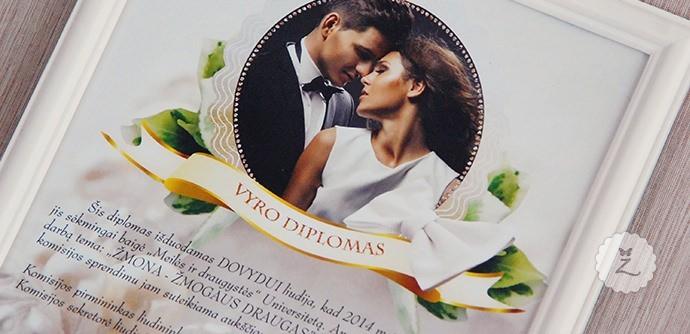 Įrėminti vestuvių vyro ir žmonos diplomas su tekstais ir nuotraukomis