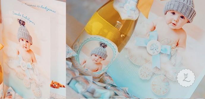 Individualus krikštynų saldainiai, šampano butelis, spėjimo kortelės, diplomas