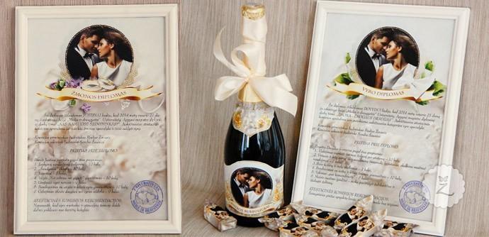 diplomas, butelio etiketė, saldainių popieriukai