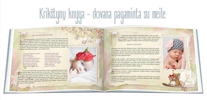 Krikštynų palinkėjimų knyga: viršelis, vidiniai lapai
