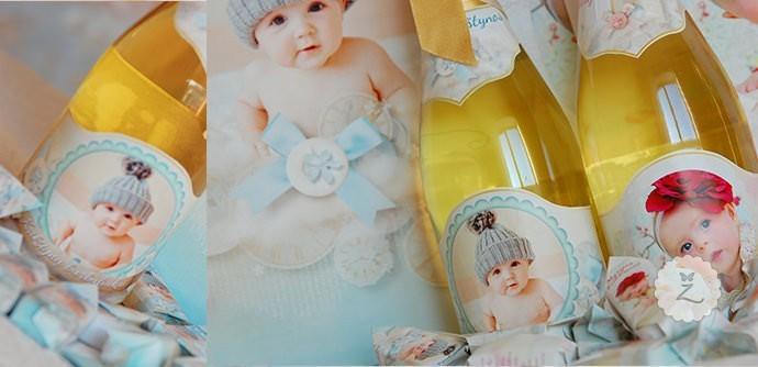 Individualus krikštynų šampano butelis kartu su krikštynų saldainiais